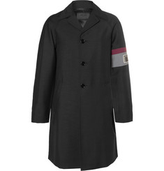Prada Stripe-Trimmed Wool and Mohair-Blend Coat