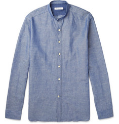 Loro Piana Grandad-Collar Linen and Cotton-Blend Chambray Shirt