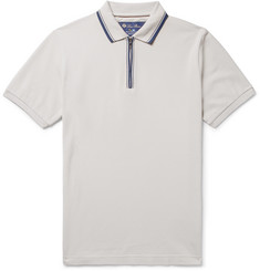 Loro Piana Regatta Contrast-Tipped Stretch-Cotton Piqué Half-Zip Polo Shirt