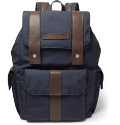 Brunello Cucinelli Leather-Trimmed Canvas Backpack