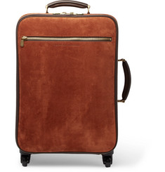 Brunello Cucinelli Leather-Trimmed Suede Carry-On Suitcase