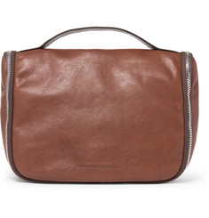 Brunello Cucinelli Two-Tone Leather Wash Bag