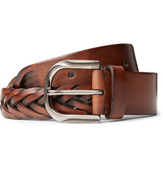 Brunello Cucinelli 3.5cm Brown Woven Leather Belt