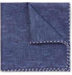 Brunello Cucinelli Silk and Cotton-Blend Chambray Pocket Square
