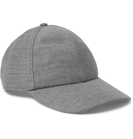 Mélange Linen And Wool-blend Baseball Cap - Gray