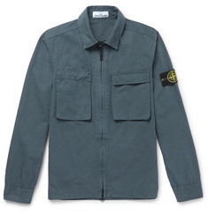 Stone Island - Garment-Dyed Brushed-Cotton Shirt Jacket