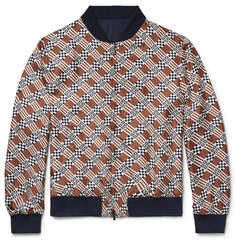 Fendi Reversible Printed Silk-Twill and Matte-Satin Bomber Jacket