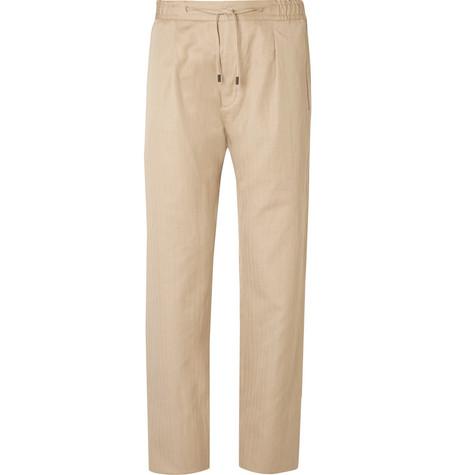 Fendi - Tapered Herringbone Linen and Cotton-Blend Drawstring Trousers - Ecru