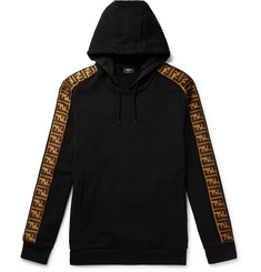 Fendi Webbing-Trimmed Fleece-Back Jersey Hoodie