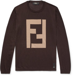 Fendi Intarsia Cashmere and Silk-Blend Sweater