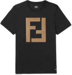 Fendi - Faux Suede-Appliquéd Cotton-Jersey T-Shirt