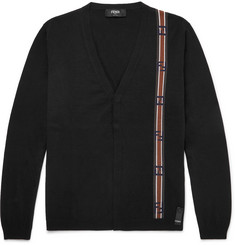 Fendi Intarsia Cotton and Cashmere-Blend Cardigan