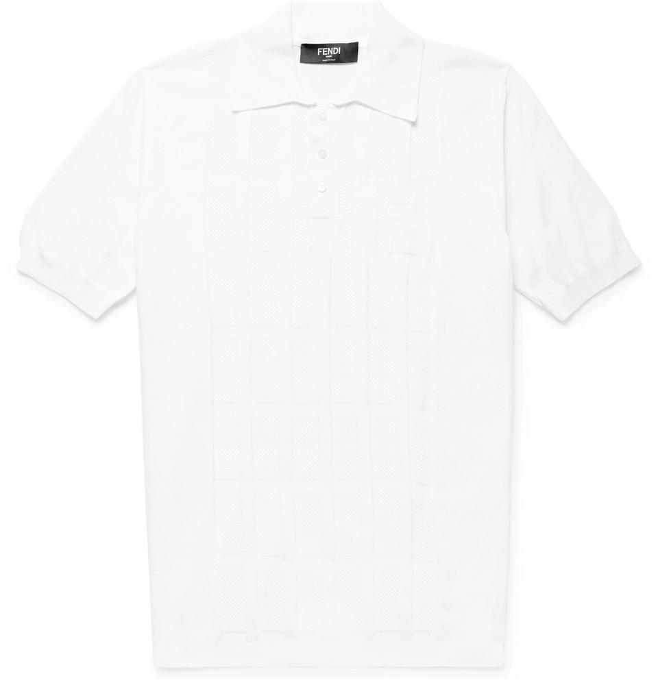 Mesh-panelled Stretch-knit Polo Shirt - White