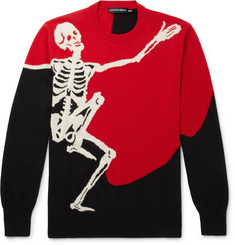 Alexander McQueen Skeleton-Intarsia Wool and Cashmere-Blend Sweater