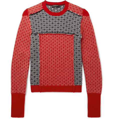 Alexander McQueen - Slim-Fit Fair Isle Patchwork Wool and Cashmere ...