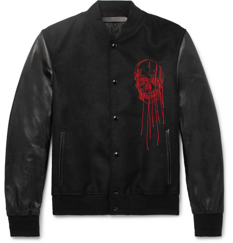 Slim-fit Embroidered Suede And Leather Bomber Jacket - Black