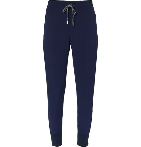 Drawstring Crepe Trousers - Navy