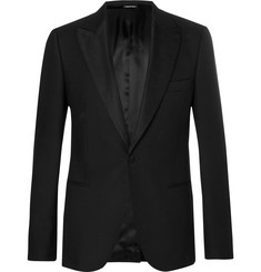 Alexander McQueen Black Slim-Fit Wool-Blend Tuxedo Jacket