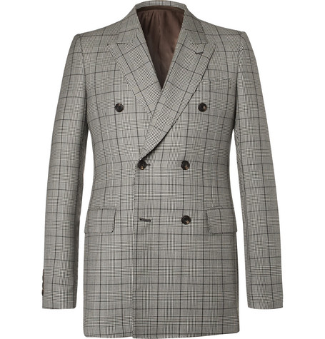 Alexander McQueen - Slim-Fit Double-Breasted Prince of Wales Checked Wool  and Mohair-Blend Suit Jacket