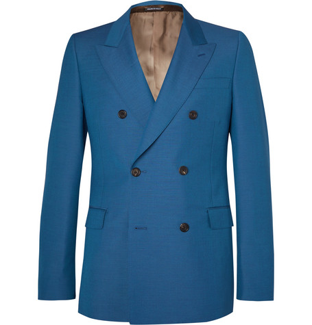 Alexander Mcqueen Cobalt Double-Breasted Wool And Mohair-Blend Suit Jacket In Blue
