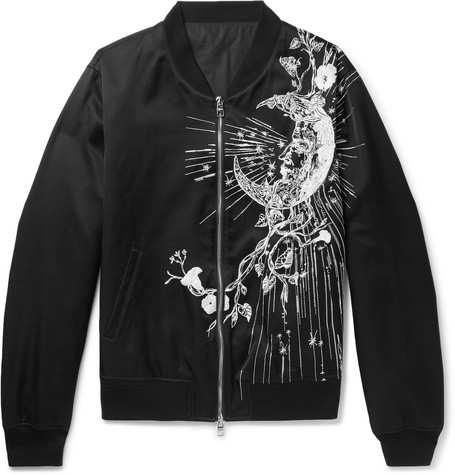 Embroidered Satin Bomber Jacket by Alexander Mc Queen