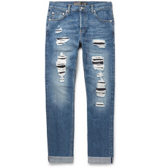 Alexander McQueen Skinny-Fit Distressed Selvedge Denim Jeans