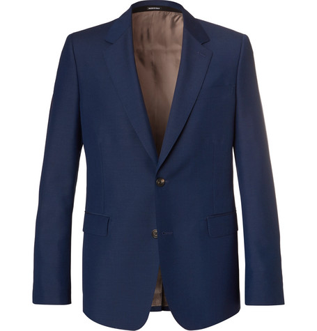 Alexander Mcqueen Navy Wool And Mohair-Blend Suit Jacket In Blue