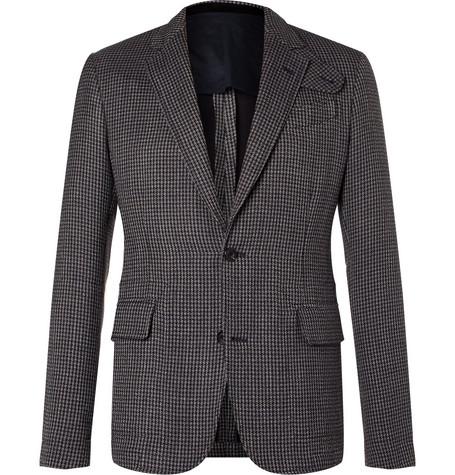 Alexander McQueen - Slim-Fit Houndstooth Cotton-Blend Tweed Blazer - Gray