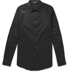 Alexander McQueen - Slim-Fit Harness-Detailed Piqué-Panelled Stretch Cotton-Blend Poplin Shirt