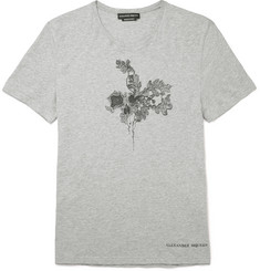 Alexander McQueen Embroidered Mélange Cotton-Jersey T-Shirt