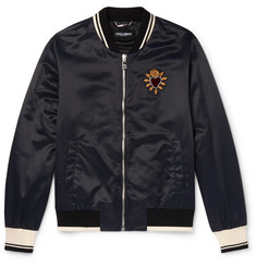 Dolce & Gabbana Sacred Heart Embroidered Nylon Bomber Jacket