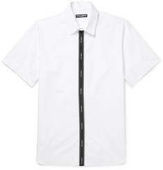 Dolce & Gabbana Grosgrain-Trimmed Cotton-Blend Poplin Shirt