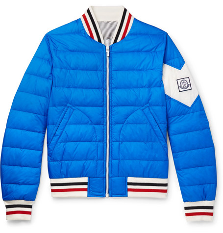 Quilted Shell Down Bomber Jacket - Blue