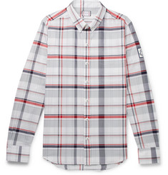 Moncler Gamme Bleu Slim-Fit Button-Down Collar Checked Cotton-Poplin Shirt