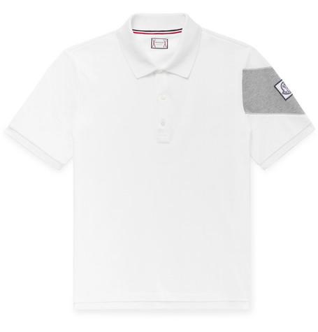 34a25699 Moncler Gamme Bleu Slim-Fit Cotton-PiquÉ Polo Shirt In White ...