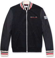 Moncler Gamme Bleu Stripe-Trimmed Cotton-Blend and Shell Bomber Jacket