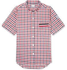 Moncler Gamme Bleu Button-Down Collar Checked Cotton Shirt