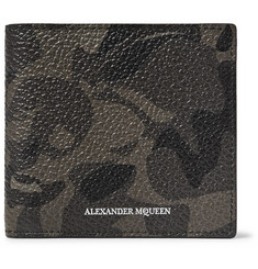 Alexander McQueen Camouflage-Print Pebble-Grain Leather Billfold Wallet