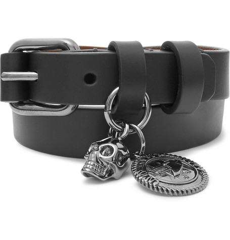 Leather And Gunmetal Tone Wrap Bracelet by Alexander Mc Queen