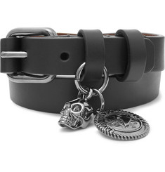 Alexander McQueen Leather and Gunmetal-Tone Wrap Bracelet