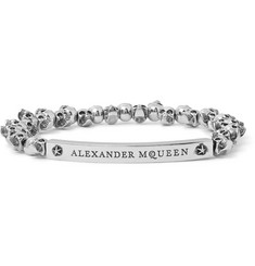 Alexander McQueen Skull Burnished Silver-Tone Beaded Bracelet