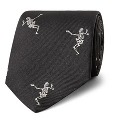 Alexander McQueen - 7cm Embroidered Silk-Faille Tie