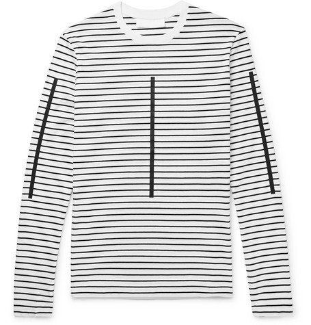 Printed Striped Cotton-jersey T-shirt - White