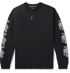 Sasquatchfabrix. Distressed Printed Fleece-Back Cotton-Blend Jersey Sweatshirt