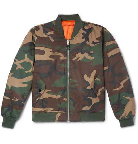 + Alpha Industries Embroidered Camouflage Print Twill Bomber Jacket by Alyx