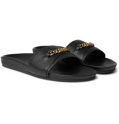 TOM FORD - Churchill Chain-Trimmed Full-Grain Leather Slides