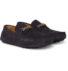 TOM FORD - York Chain-Trimmed Suede Driving Shoes