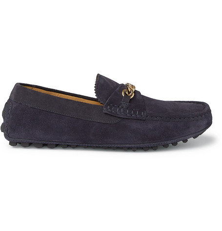 York Chain-trimmed Suede Driving Shoes - NavyTom Ford S26MevncX
