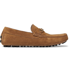 TOM FORD York Chain-Trimmed Suede Driving Shoes