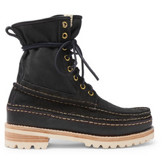 visvim Grizzly Panelled Suede, Twill and Rubber Boots